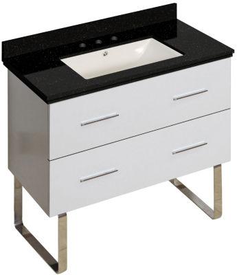 36-in. W Floor Mount White Vanity Set For 3H8-in.Drilling Black Galaxy Top Biscuit UM Sink