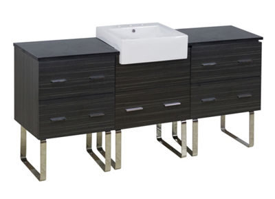 73.5-in. W Floor Mount Dawn Grey Vanity Set For 3H8-in. Drilling Black Galaxy Top