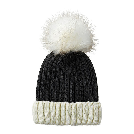 Tickled Pink Pom Faux Fur Trim Beanie