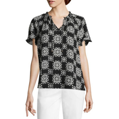Liz Claiborne Short Sleeve Split Crew Neck Woven Ruffled Blouse