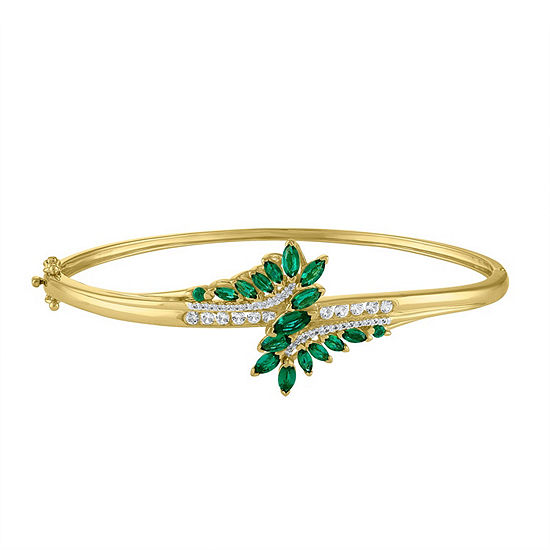 Lab Created Green Emerald 14K Gold Over Silver Bangle Bracelet