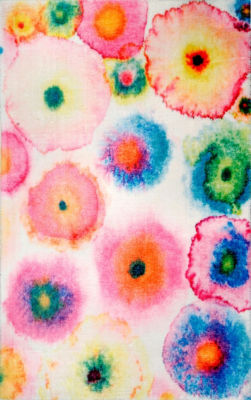 nuLoom Abstract Blossoms Lilla Shaggy Round Area Rug