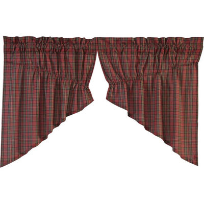 Rustic & Lodge Window Tartan Red Plaid Prairie Swag Pair