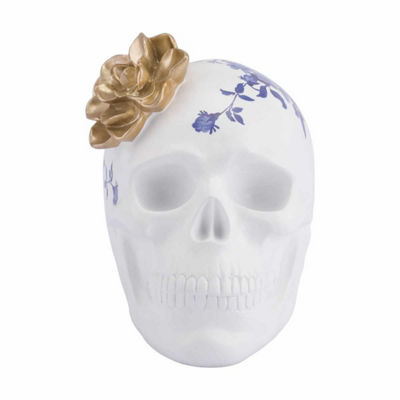 Skull with Flower Figurine