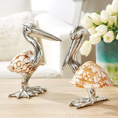 Two's Company Set Of 2 Shell Sculpture Pelicans