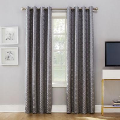 Sun Zero Rowes Woven Trellis Blackout Grommet- Top Curtain Panel