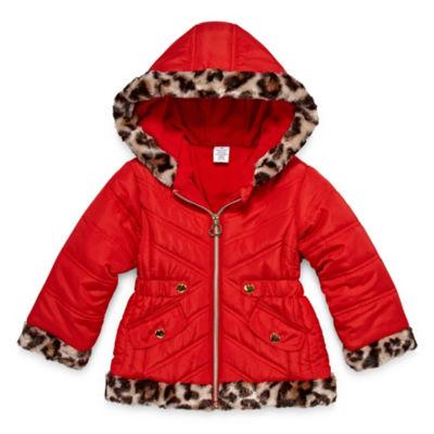 Okie Dokie - Girls Hooded Faux Fur Trim Heavyweight Puffer Jacket-Toddler