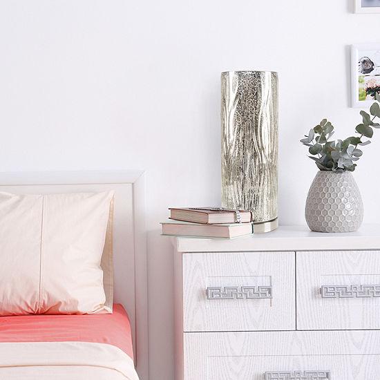 Lavish Home Glass Uplight Lamp with Tree Bark Pattern