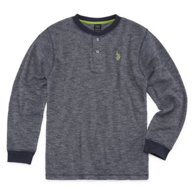U.S. Polo Assn. Long Sleeve Cuffed Sleeve Henley Shirt - Big Kid Boys