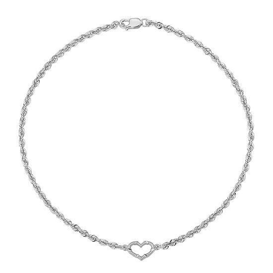 14K White Gold 10 Inch Hollow Rope Heart Ankle Bracelet
