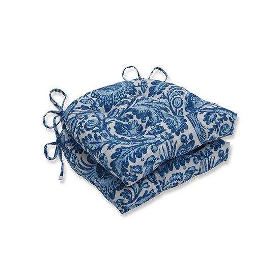 Pillow Perfect Set of 2 Tucker Resist Azure Reversible Patio Seat Cushions