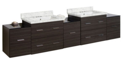 88.5-in. W Wall Mount Dawn Grey Vanity Set For 3H4-in. Drilling Bianca Carara Top White UM Sink