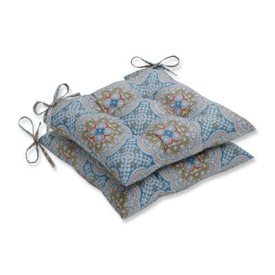 Pillow Perfect Set of 2 Astrid Aqua Wrought Iron Patio Seat Cushion