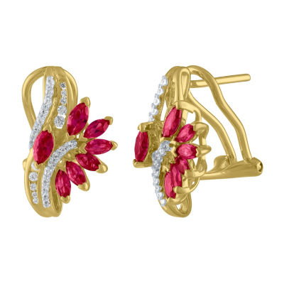 Lab Created Red Ruby 14K Gold Over Silver Drop Earrings