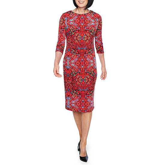 Liz Claiborne 3/4 Sleeve Midi Sheath Dress