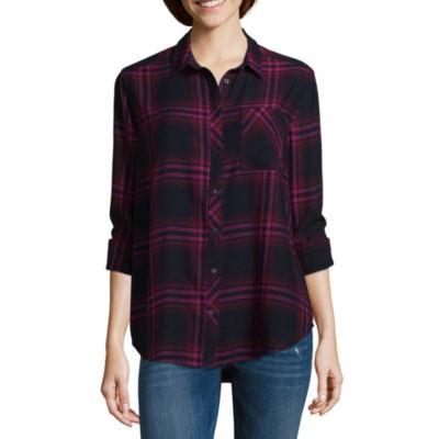 Arizona Womens Long Sleeve Loose Fit Button-Front Shirt-Juniors