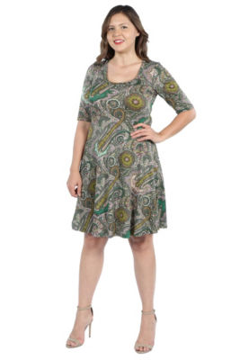 24Seven Comfort Apparel Lorna Green Paisley Dress - Plus