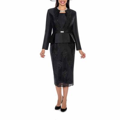 Giovanna Collection Women's Soutache Embellished Peplum 3 Piece Skirt Suit