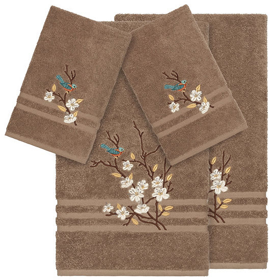 Linum Home Textiles 100% Turkish Cotton Spring Time 4PC Embellished Towel Set