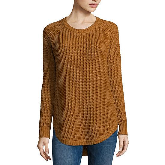 Arizona-Juniors Womens Round Neck Long Sleeve Pullover Sweater
