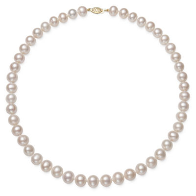 Womens 8.5mm White Cultured Freshwater Pearl 10K Gold Strand Necklace