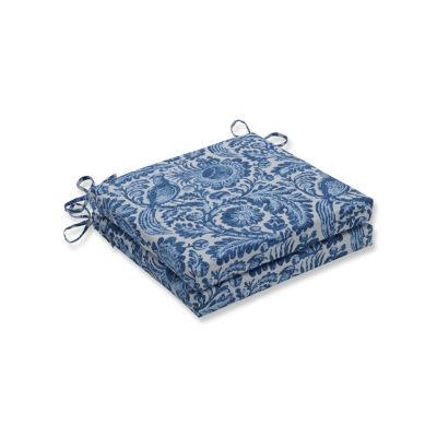 Pillow Perfect Set of 2 Tucker Resist Azure Oversized Squared Corners Patio Seat Cushion