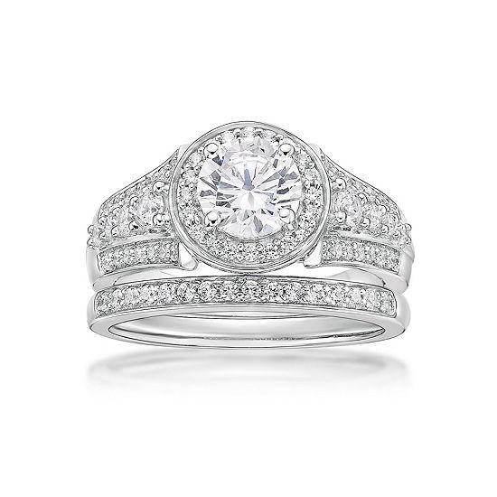 Diamonart Womens White Cubic Zirconia Sterling Silver Bridal Set