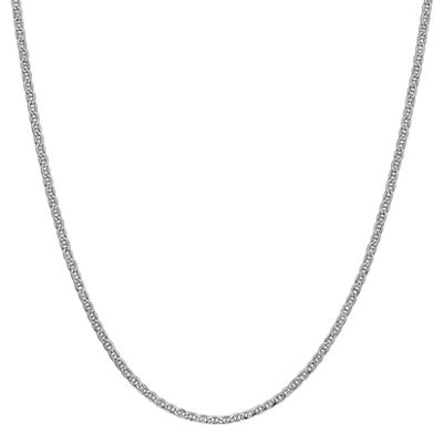 14K White Gold 24 Inch Semisolid Anchor Chain Necklace