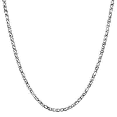14K White Gold 16 Inch Semisolid Anchor Chain Necklace