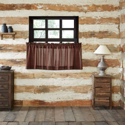 Rustic & Lodge Window Tartan Red Plaid Tier Pair