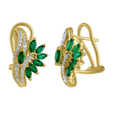 Lab Created Green Emerald Drop Earrings