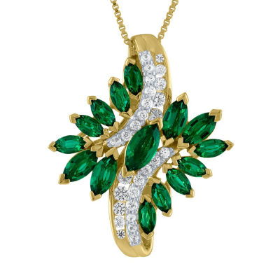 Womens Lab Created Green Emerald Pendant Necklace