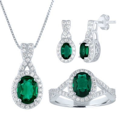 Womens Green Emerald Sterling Silver Jewelry Set