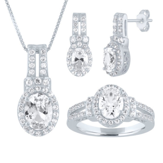 Womens White Sapphire Sterling Silver Jewelry Set