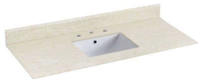 47.5-in. W 17.75-in. D Marble Top With BacksplashIn Beige Color For 3H8-in. Faucet - White UM Sink