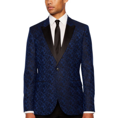 JF J.Ferrar Formal Stretch Bright Blue Floral Classic Fit Sport Coat