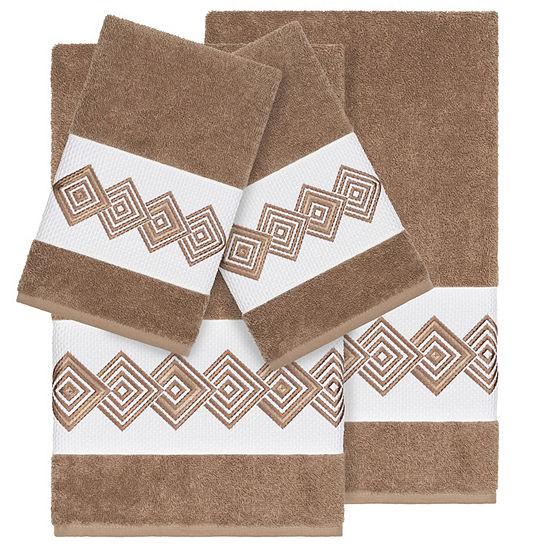 Linum Home Textiles 100% Turkish Cotton Noah 4PC Embellished Towel Set