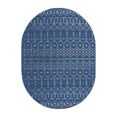 Tayse Heidy Transitional Geometric Oval Rug
