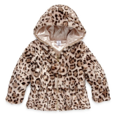 Okie Dokie - Girls Hooded Faux Fur Trim Heavyweight Puffer Jacket-Toddler