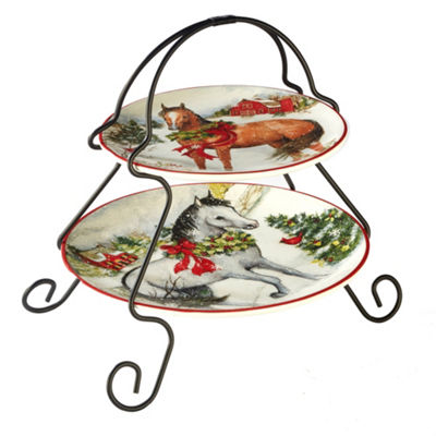 Certified International Christmas On The Farm Tiered Server