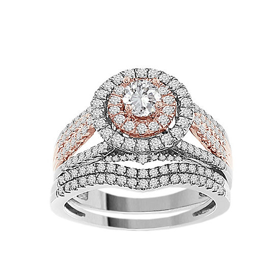 Womens 1 CT. T.W. Genuine White Diamond 14K Rose Gold 14K White Gold Bridal Set
