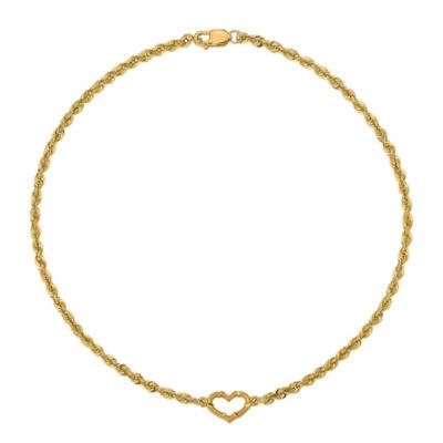 14K Gold 10 Inch Rope Heart Ankle Bracelet