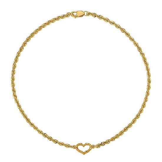 14K Gold 10 Inch Hollow Rope Heart Ankle Bracelet