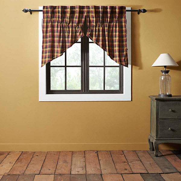 Ashton & Willow Settlement Primitive Check Prairie Swag Curtain Set of 2 36x36x18