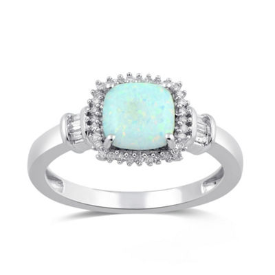 Womens Lab Created White Opal 10K White Gold Cocktail Ring