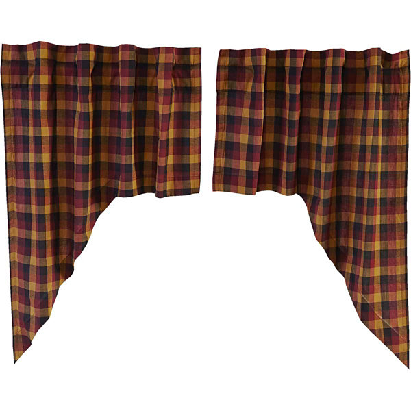 Ashton & Willow Settlement Primitive Check Swag Curtain Set of 2 36x36x16