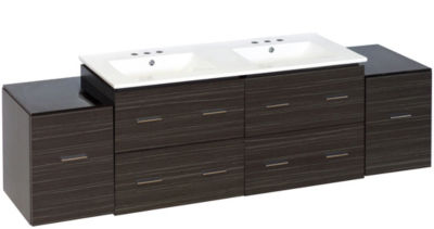 76-in. W Wall Mount Dawn Grey Vanity Set For 3H8-in. Drilling