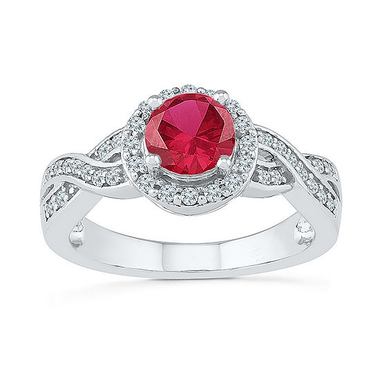 Womens 1/4 CT. T.W. Lab Created Red Ruby Sterling Silver Cocktail Ring