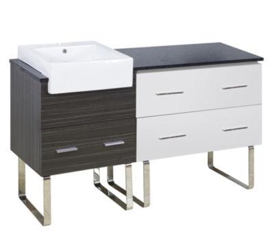 57.75-in. W 18-in. D Modern Plywood-Melamine Vanity Base Set Only In White-Dawn Grey