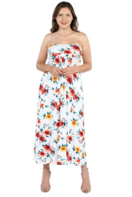 24Seven Comfort Apparel Lindsey Strapless White Floral Empire Waist Maxi Dre